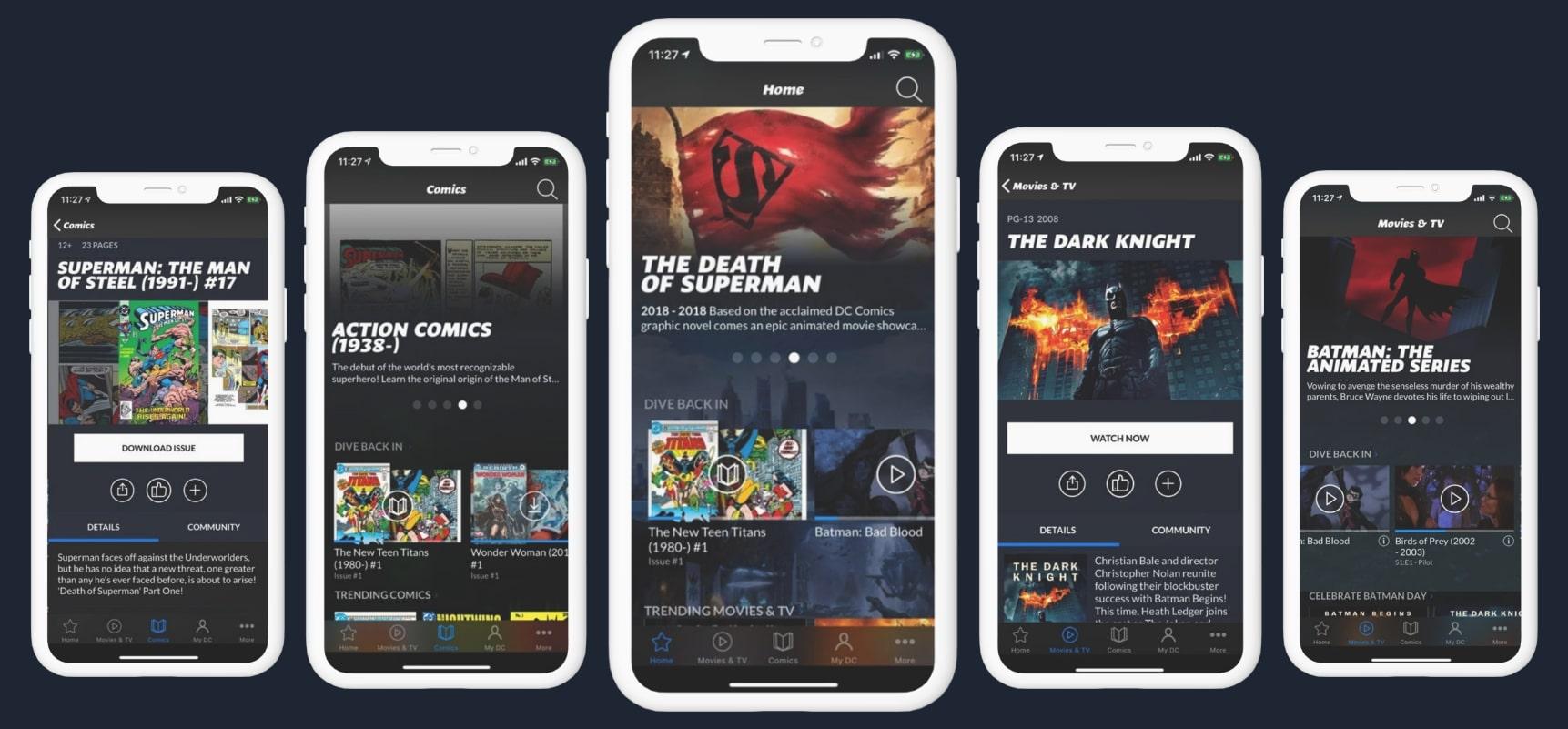 Screenshots of Comic Apps like DC Universe